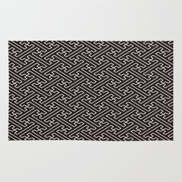 Black Auspicious Sayagata Japanese Kimono Pattern Rug