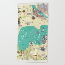 Princess Bride Discovery Map Beach Towel