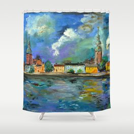 A Night of Color in Riga Shower Curtain