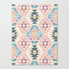 Woven Textured Pastel Kilim Pattern Canvas Print
