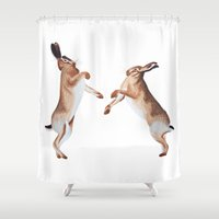 boxing Shower Curtains featuring Boxing Hares by ByKellyAttenborough