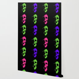 Skull 3x3 - Lime/Purple/Pink Wallpaper