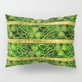Irish Shamrock -Clover Gold and Green pattern Pillow Sham