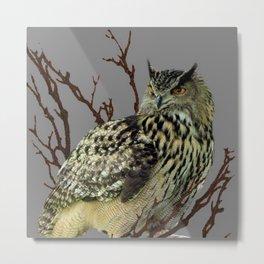 OWL IN TREE GREY ART DESIGN  ART Metal Print