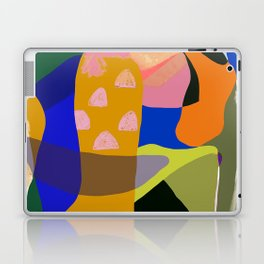 Shapes and Layers no.20 - Abstract painting olive green blue orange black Laptop & iPad Skin