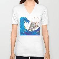 hokusai V-neck T-shirts featuring Hokusai Rainbow & Hippopotamus Fishing  by FACTORIE