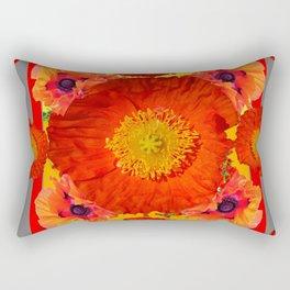 GREY ART YELLOW-RED POPPIES GARDEN ART Rectangular Pillow
