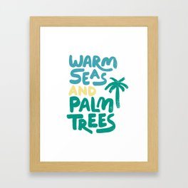 Warm Seas and Palm Trees Vintage Framed Art Print
