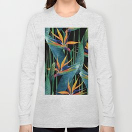 Watercolor Painting Tropical Bird of Paradise Plants large Long Sleeve T-shirt