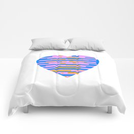 Glitching Hearts — Pink, Blue, and Orange Comforters