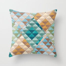 Triangle Patter No.15 Shifting Teal and Yellow Throw Pillow