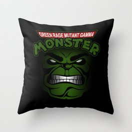 Green Rage Mutant Gamma Monster Throw Pillow