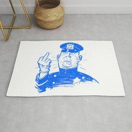 Mad Cop Flipping the Bird Blue Rug