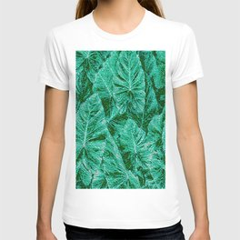 Green With Envy Layered Leaf Textures T-shirt