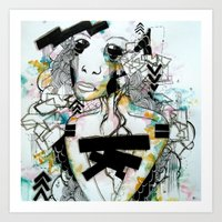 blueprint Art Prints featuring BluePrint by PrincessM