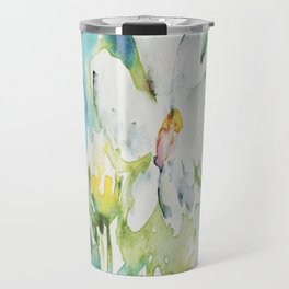 White Daisy Doodle watercolor by CheyAnne Sexton Travel Mug