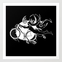 Icicle Bicycle White Art Print