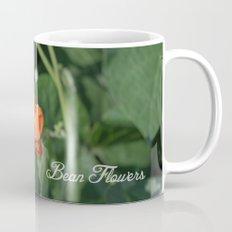 bright orange bean flowers. garden vegetable plant photography. Mug