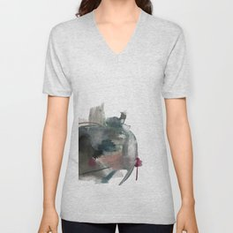 Begin: a minimal abstract mixed media piece Unisex V-Neck