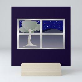 Window view at night Mini Art Print