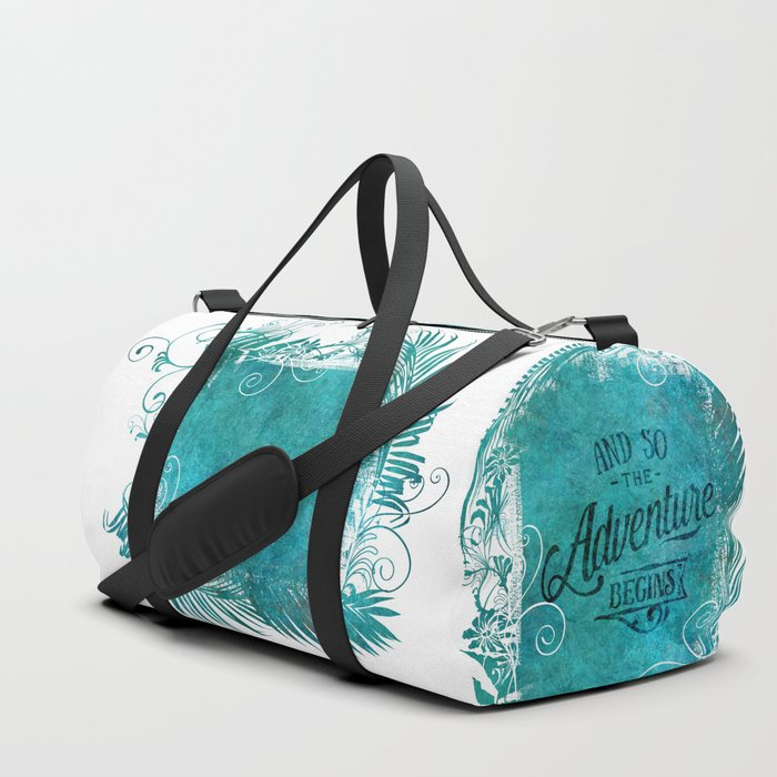 And So The Adventure Begins Motivational Typography Art Duffle Bag