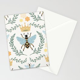 Queen Bee with Gold Crown and Laurel Frame Stationery Cards