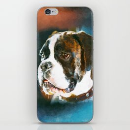 Boxer Dog Portrait  Watercolor Digital Art iPhone Skin