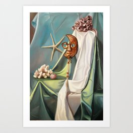 Still life with the Venetian mask and corals Art Print
