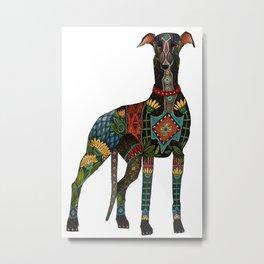 greyhound white Metal Print