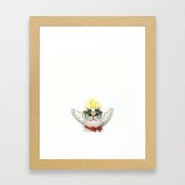 Small Christmas Angel Cat Framed Art Print