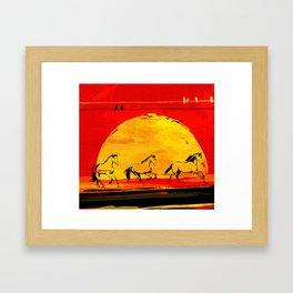 sunset horses Framed Art Print