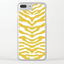 Zebra Wild Animal Print Mustard Yellow Clear iPhone Case