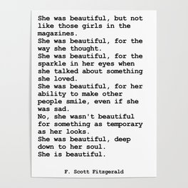 She was beautiful by F. Scott Fitzgerald #minimalism #poem Poster