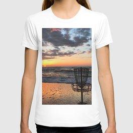 Disc Golf Basket Virginia Beach Atlantic Sunset Frisbee Chesapeake Bay Camping T-shirt