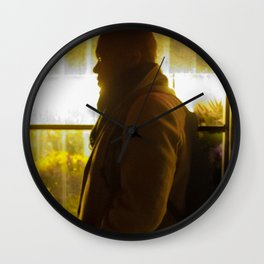 Man in front of Flowers Shop, D Wall Clock