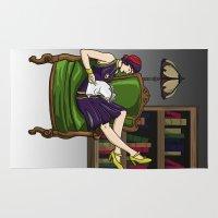 batgirl Area & Throw Rugs featuring Well-Read Batgirl by JazzAgeComics
