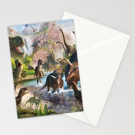 Jurassic dinosaurs in the river Stationery Cards