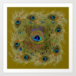 Avocado Color Peacock Feathers Art Design Art Print