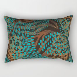 Abstract Tribal Floral Turquoise  Rectangular Pillow
