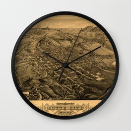Map Of Butte 1884 Wall Clock