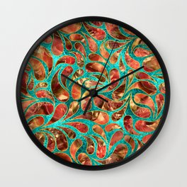 Gold Framed Red Gemstone  Paisley pattern on teal Wall Clock