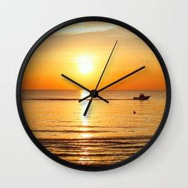 Yellow Sunset Ocean Wall Clock