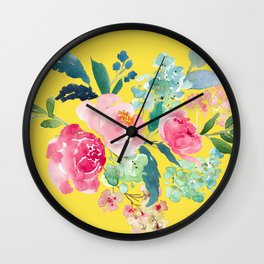 Yellow Watercolor Floral Pink Peonies Wall Clock