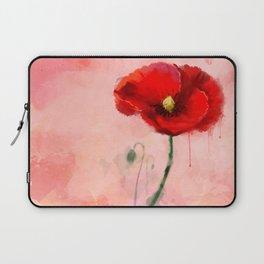 Red Poppy watercolor digital painting Laptop Sleeve