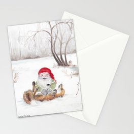 The gnome and his friend the fox - Christmas Stationery Cards