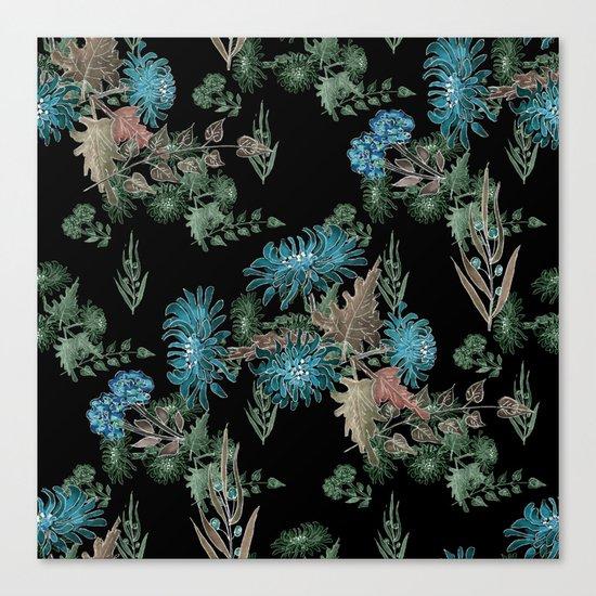 Blue chrysanthemums. Black . Watercolor . Canvas Print
