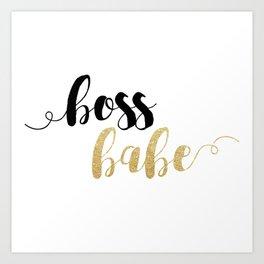 Boss Babe | Gold Glitter Art Print
