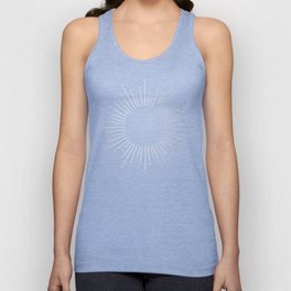 Sunburst Moonlight Silver on White Unisex Tank Top