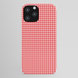 Small Snow White and Christmas Red Gingham Check Plaid iPhone Case