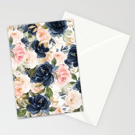 Navy Pink Watercolor Floral Pattern Nursery Flowers Stationery Cards